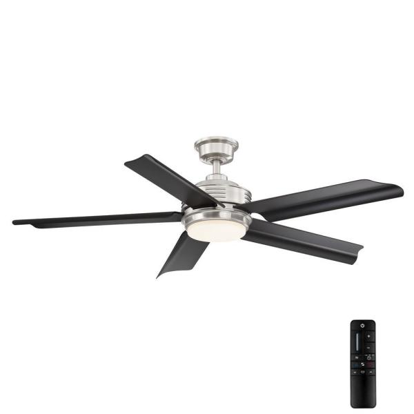Hansfield 56 in. LED Outdoor Brushed Nickel Ceiling Fan with Remote Control