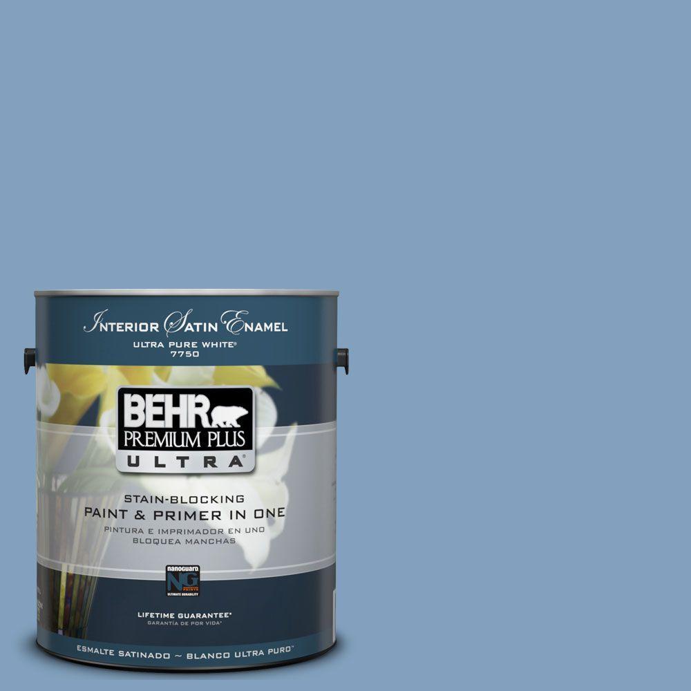 BEHR Premium Plus Ultra 1-Gal. #UL230-7 Hawaiian Sky Interior Satin Enamel Paint