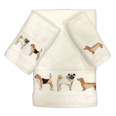 Dogs on Parade 3-Piece Towel Set in Ivory