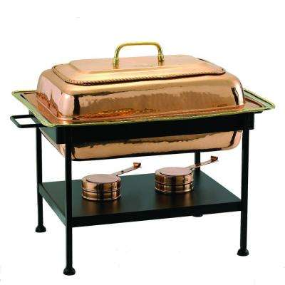 8 qt. 23 in. x 13 in. x 19 in. Rectangular Decor Copper over Stainless Steel Chafing Dish