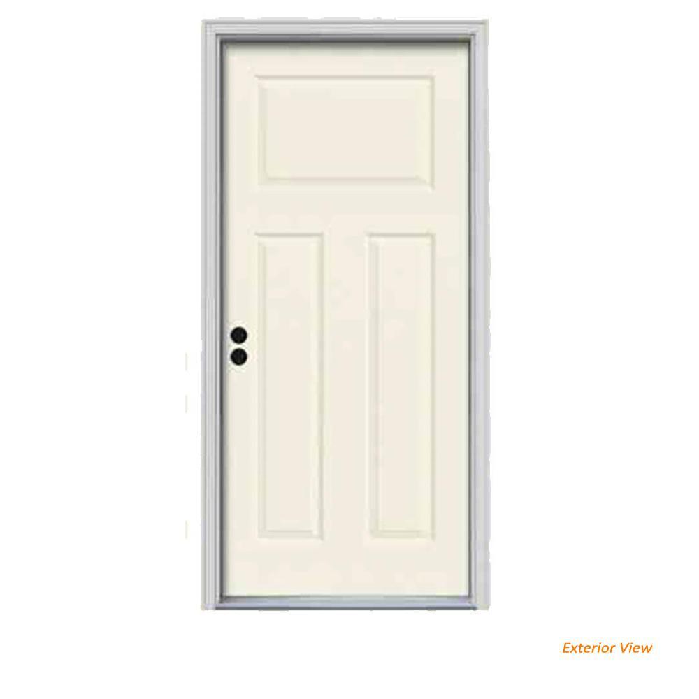 JELD-WEN 34 in. x 80 in. 3-Panel Craftsman Vanilla Painted Steel Prehung Right-Hand Inswing Front Door w/Brickmould