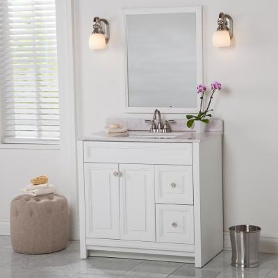 Brinkhill 37 in. W x 22 in. D Bathroom Vanity in White with Stone Effect Vanity Top in Pulsar with White Sink