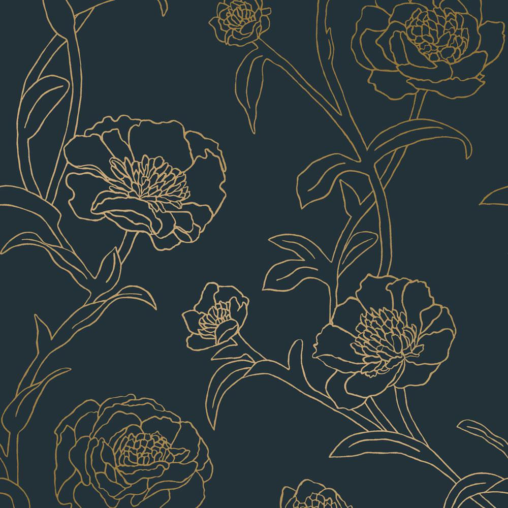 Tempaper Peonies Peacock Blue Metallic Gold Vinyl Peelable Roll Covers 28 Sq Ft Pe10633 The Home Depot
