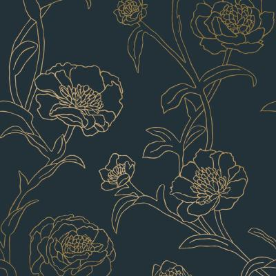 Peonies Peacock Blue & Metallic Gold Peel and Stick Wallpaper 28 sq. ft.