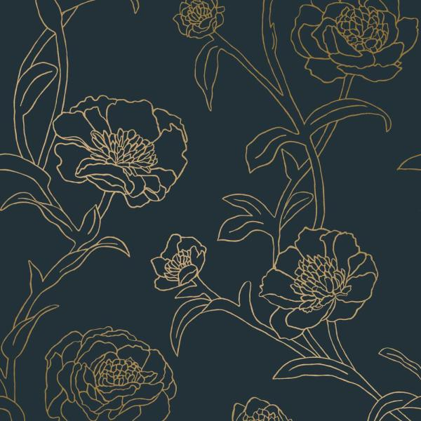Peonies Peacock Blue & Metallic Gold Vinyl Peelable Roll (Covers 28 sq. ft.)