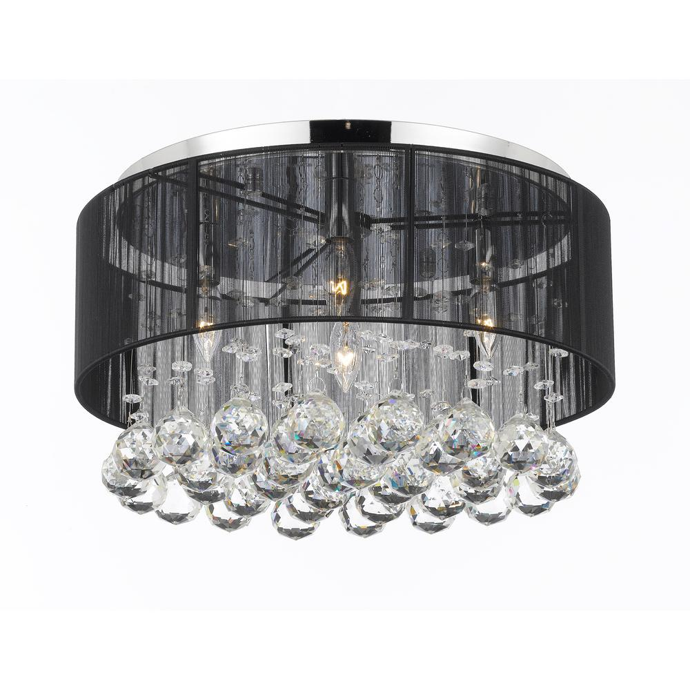 Empress Crystal 4 Light Chrome Flushmount With Black Shade