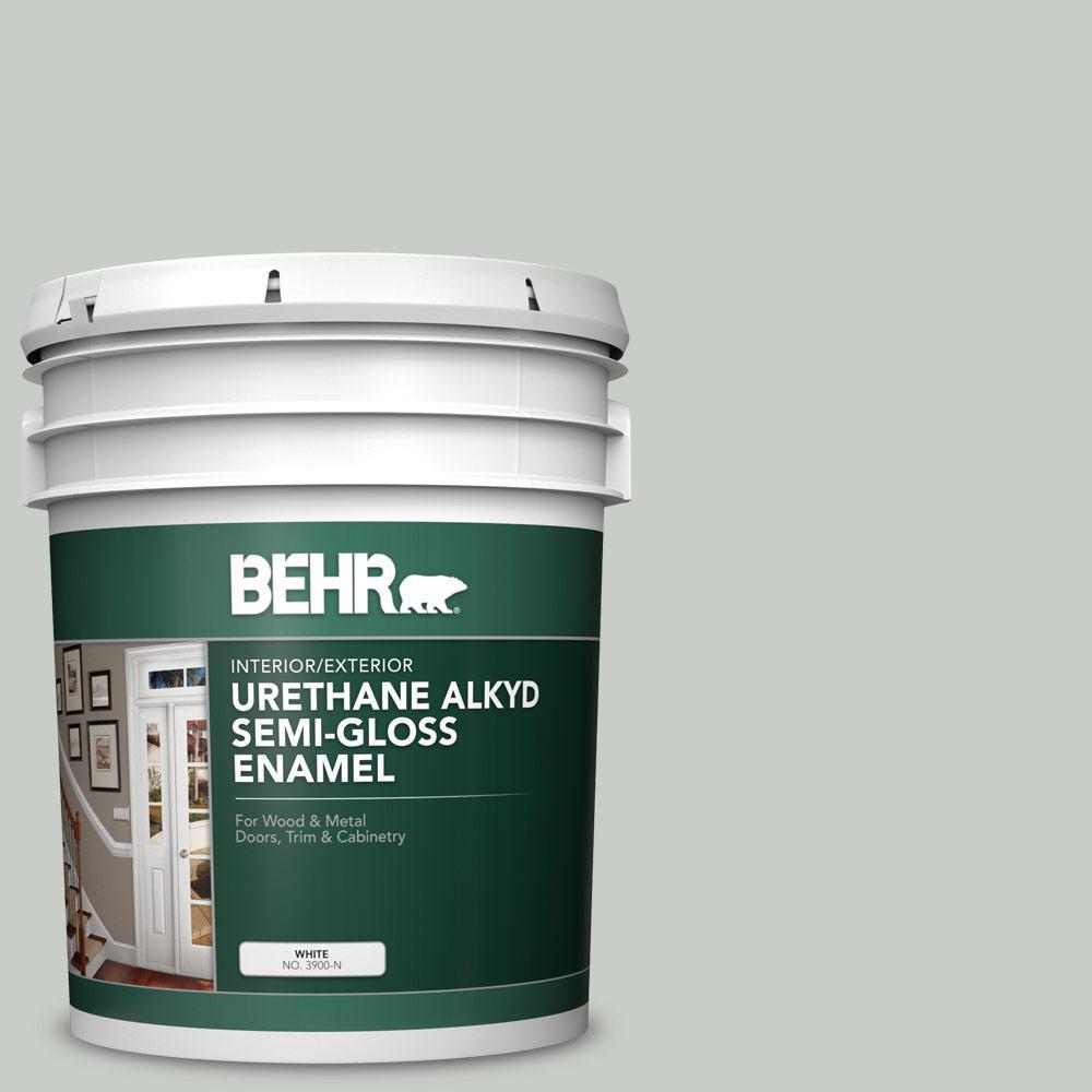 BEHR 5 gal. #PWL-89 Silver Setting Urethane Alkyd Semi-Gloss Enamel Interior/Exterior Paint