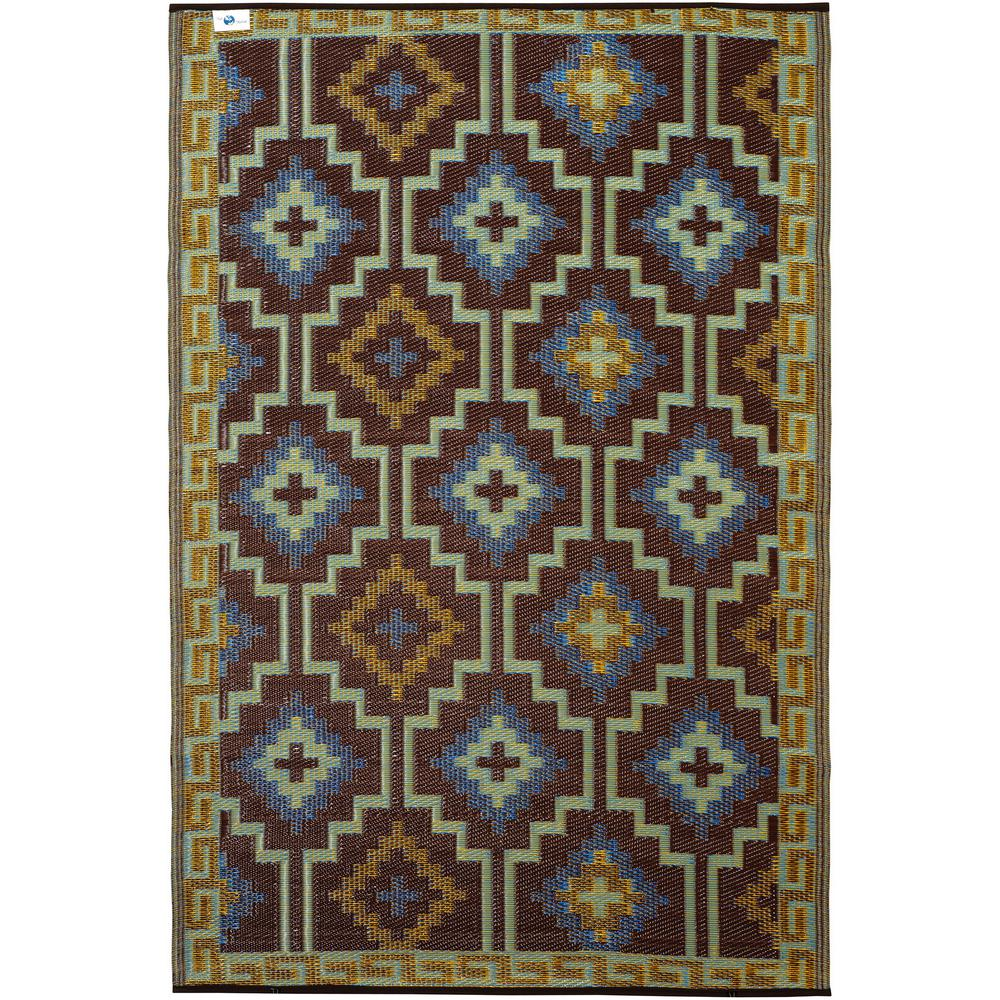 Fab Habitat Lhasa Indoor Outdoor Royal Blue And Chocolate Brown 3 Ft