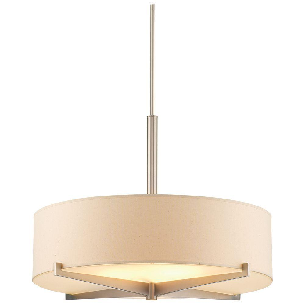 Philips Fisher Island 3 Light Satin Nickel Safari Shade Hanging Pendant Amazing Pictures