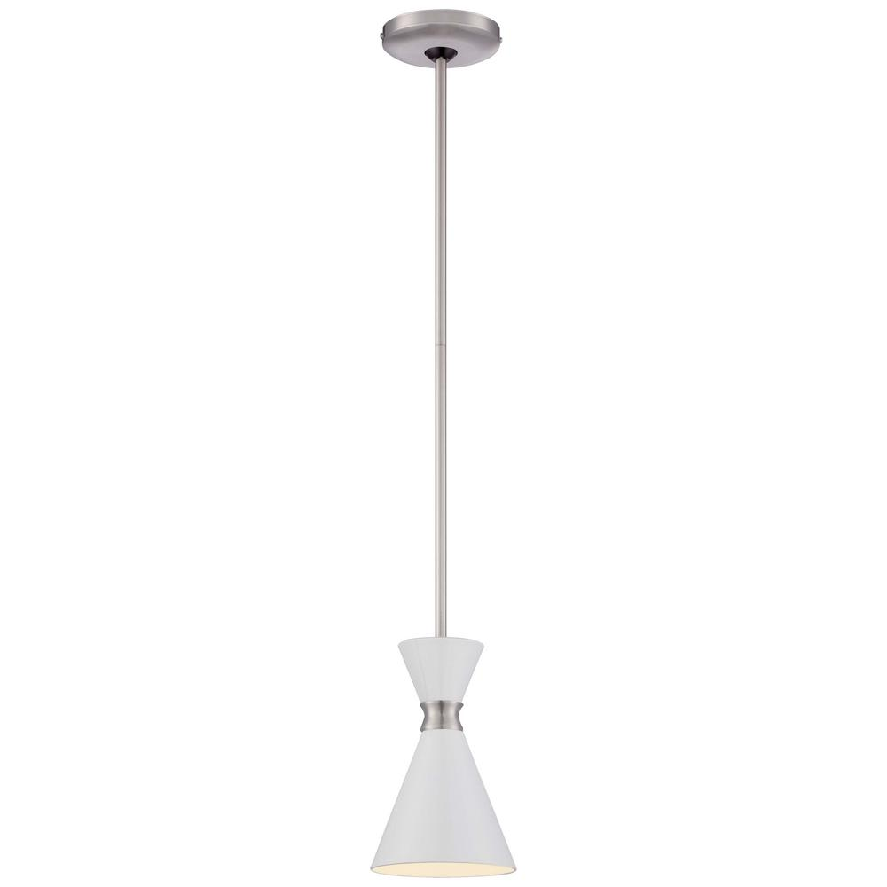 George Kovacs Conic 1-Light Brushed Nickel Mini Pendant with Glitter Gloss White Shade