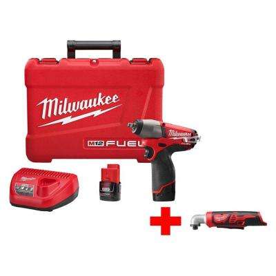 M12 FUEL 12-Volt Cordless Brushless 3/8 in. Impact Wrench Kit with Free M12 Right Angle Impact Driver