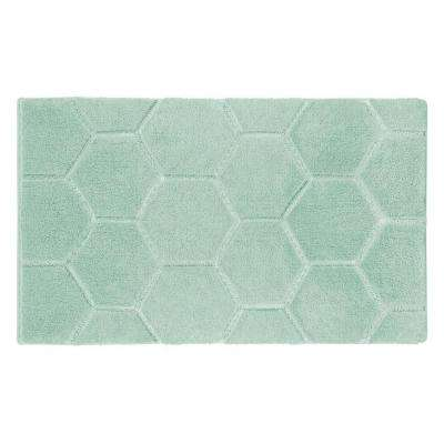Pearl Honeycomb Sea Foam 17 in. x 24 in. Bath Mat