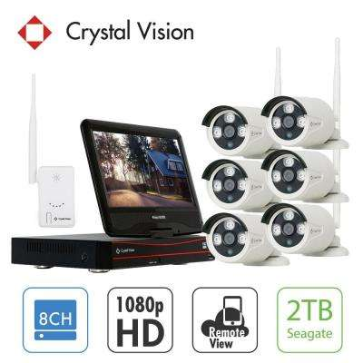 8-Channel Wireless 1080p Full HD 2MP 2TB Hard Drive Surveillance System with 10 in. Monitor Waterproof IR Cameras