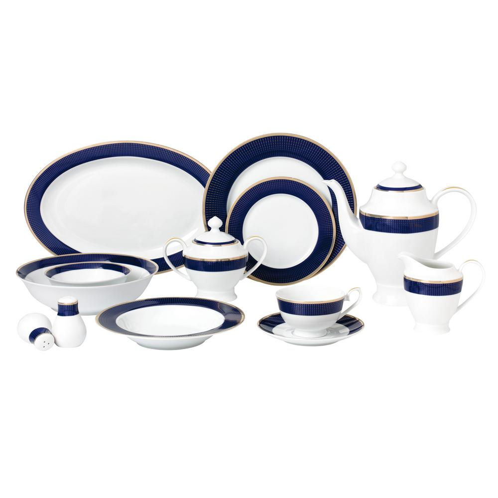 57-Piece Blue Dinnerware Set-New Bone China Service for 8-People-Midnight