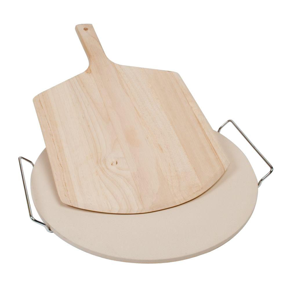 15 in. Ceramic Baking Stone with Wire Frame/Wooden Pizza Peel Set