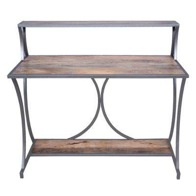 Brown and Gray Designer Metal Framed Study Table with Open Mango Wood Shelves