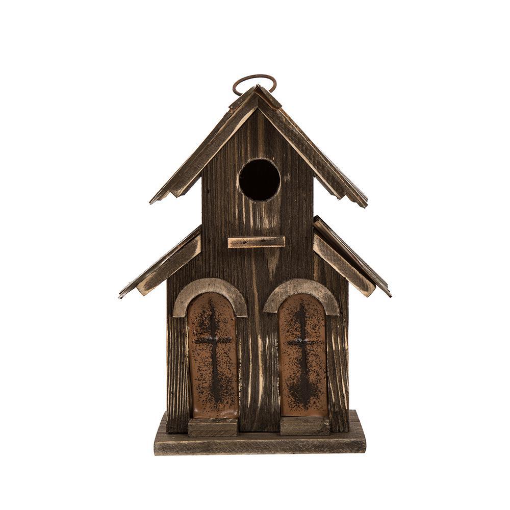 10.04 in. H Distressed Solid Wood Birdhouse with 2-Door