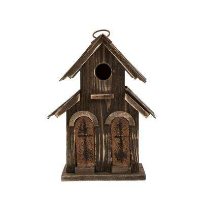 10.04 in. H Distressed Solid Wood Birdhouse with 2-Door