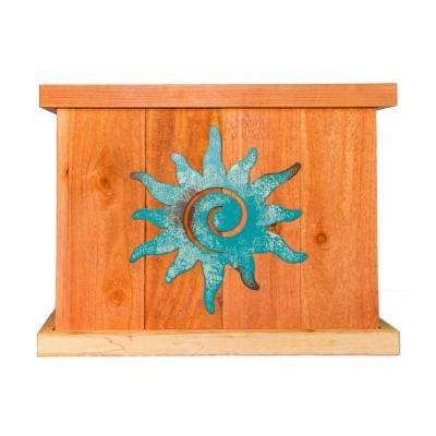 22 in. x 22 in. Deluxe Redwood Planter with Patina Sun Art