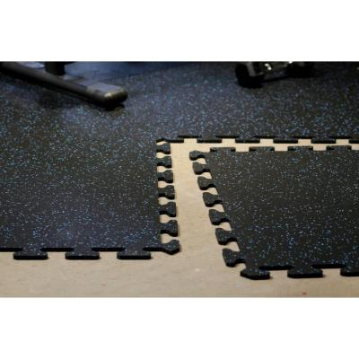 Black with Blue Speck 24 in. x 24 in. Finished Corner Recycled Rubber Floor Tile (16 sq. ft./ case)