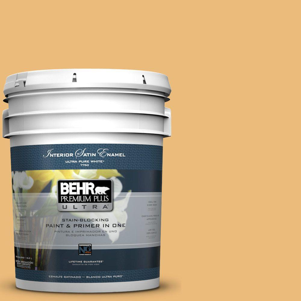 BEHR Premium Plus Ultra 5-gal. #BXC-61 Early Harvest Satin Enamel Interior Paint