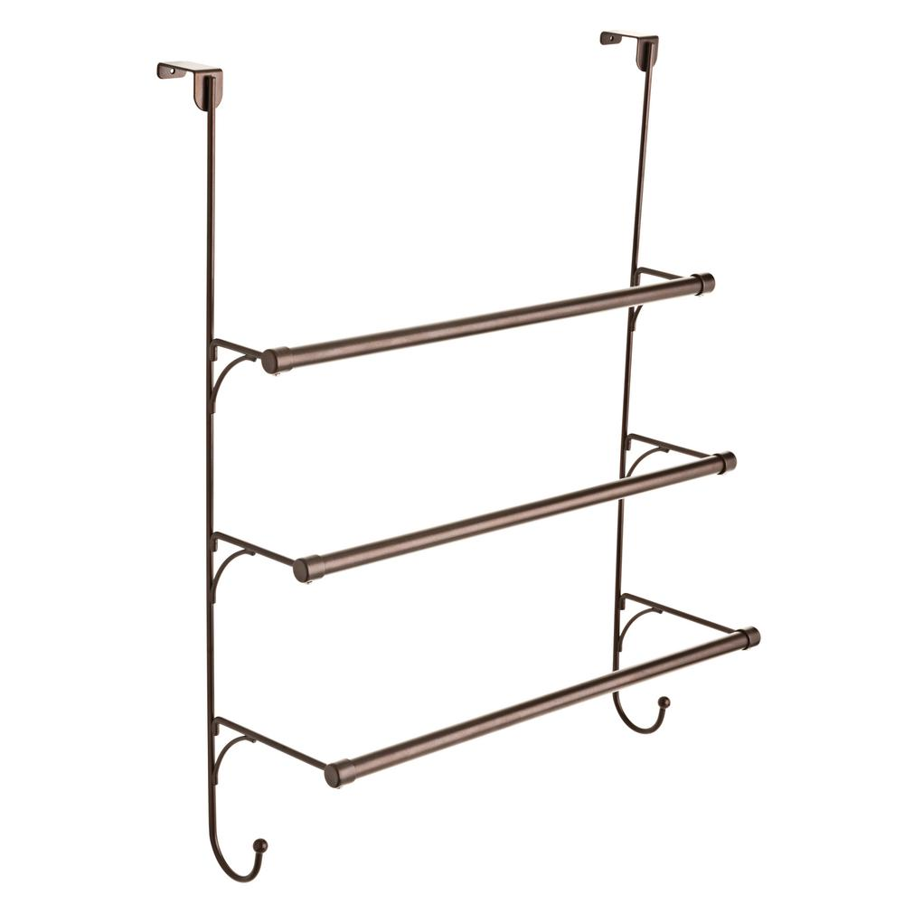 Over-the-Door 3-Bar Towel Rack in Bronze