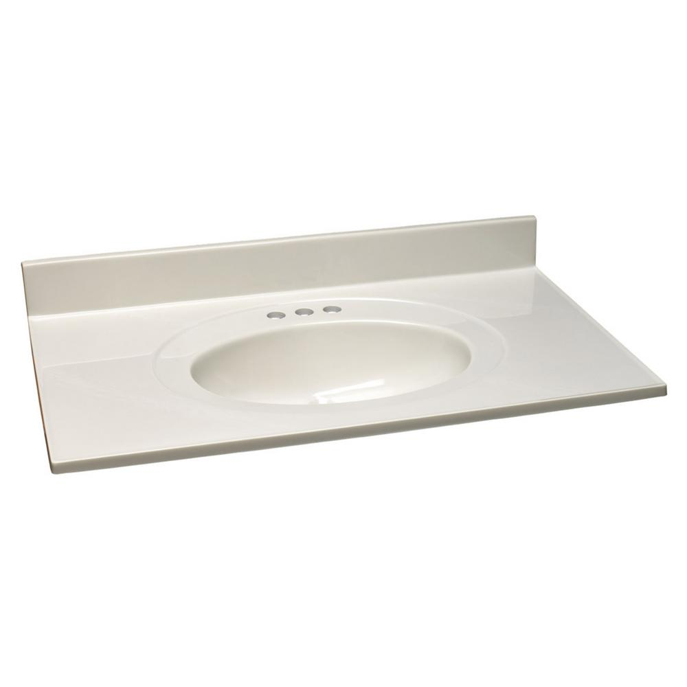 37 in. Cultured Marble Vanity Top in White on White with