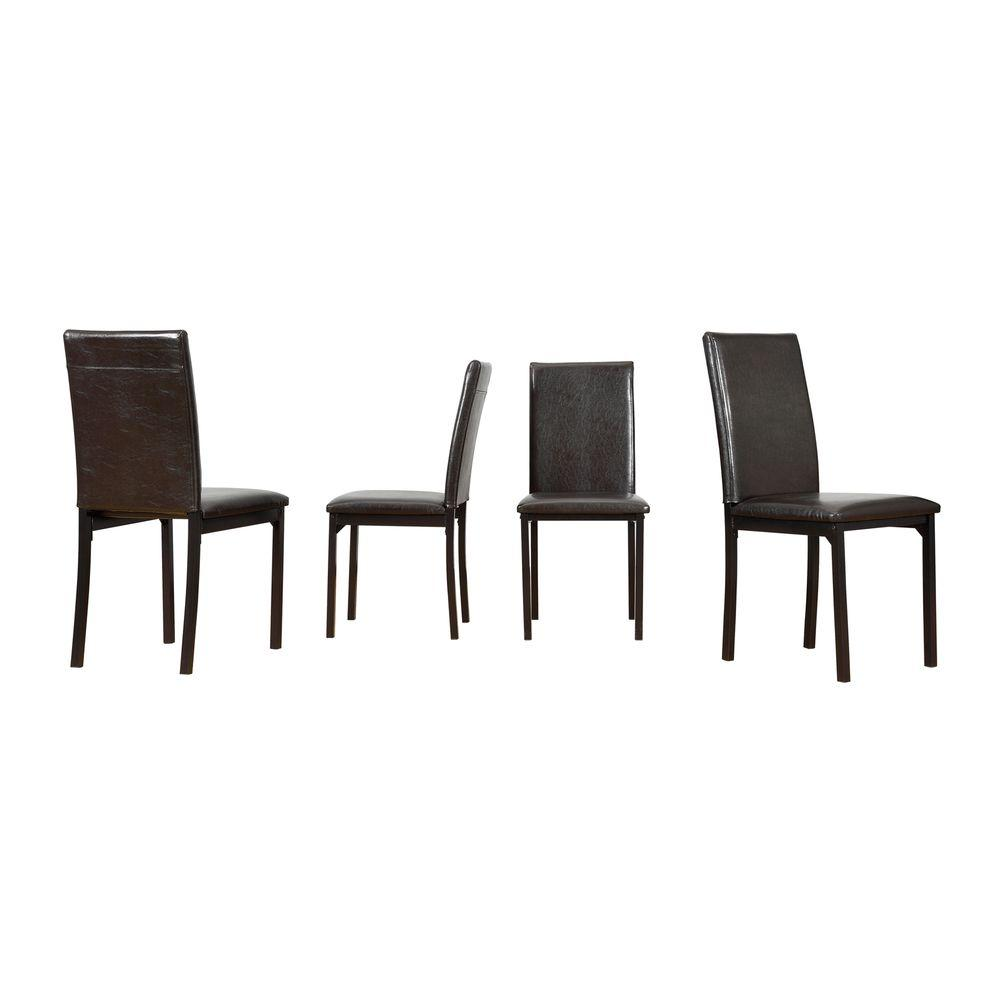 HomeSullivan Bedford Black Faux Leather Dining Chair (Set Of 4)