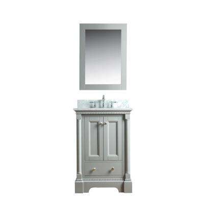 Olivia 24 in. W x 22 in. D Bath Vanity in Gray with Marble Vanity Top in White with White Basin