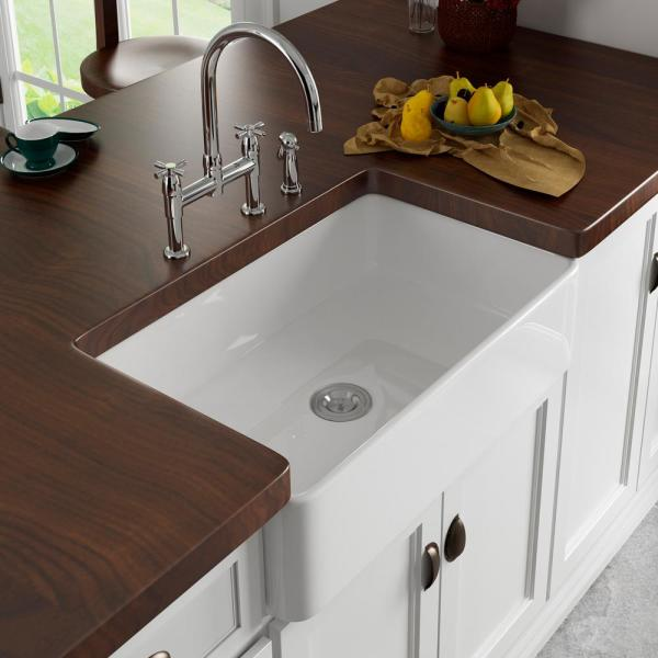Eridanus White Ceramic 33 In Single Bowl Farmhouse Apron Kitchen Sink With Grid And Strainer Jun Sink 013 The Home Depot