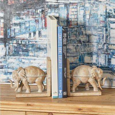 Beige Polystone Elephant Bookends (Set of 2)