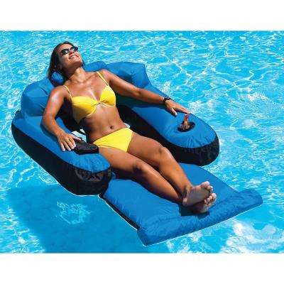 55 in. x 38 in. Blue/Black Nylon Ultimate Floating Pool Lounger
