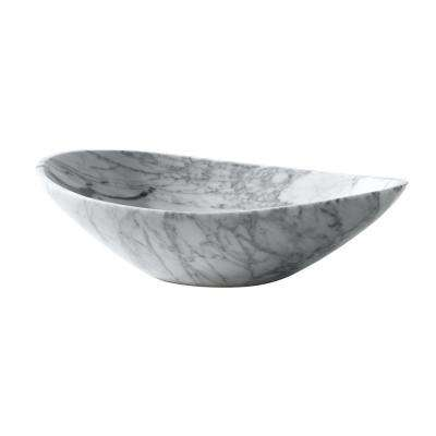 20 in. Oval Stone Vessel Sink in Carrara White