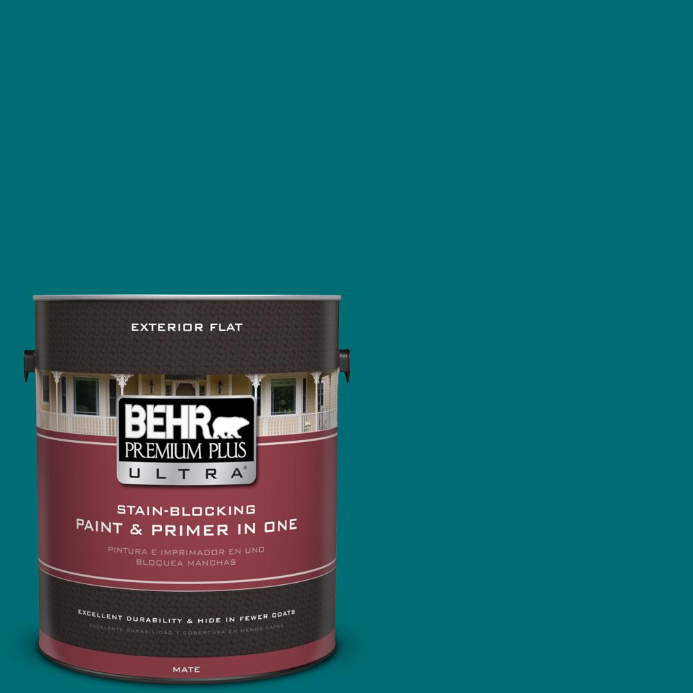 1 gal. #MQ6-35 Teal Motif Flat Exterior Paint and Primer in