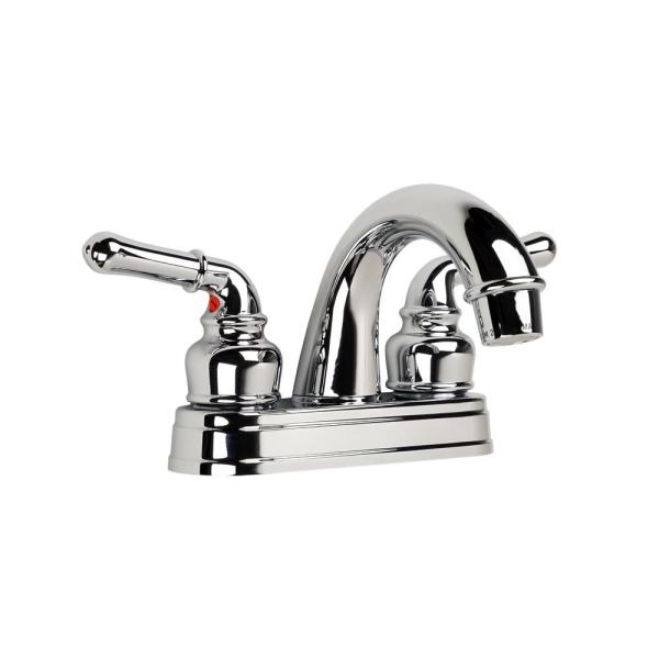 Ultra Faucets Non Metallic Series 4 In Centerset 2 Handle Bathroom Faucet In Chrome 15710148 The Home Depot