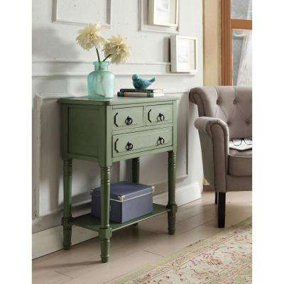 Simplicity Antique Green Storage Console Table