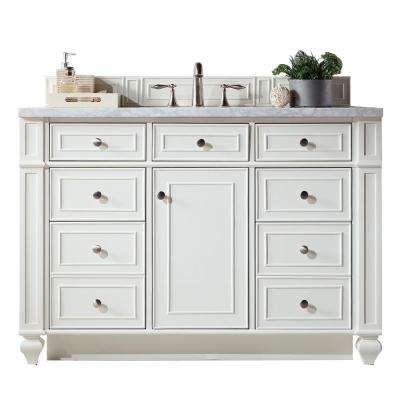 Bristol 48 in. W Single Vanity in Cottage White with Soild Surface Vanity Top in Arctic Fall with White Basin