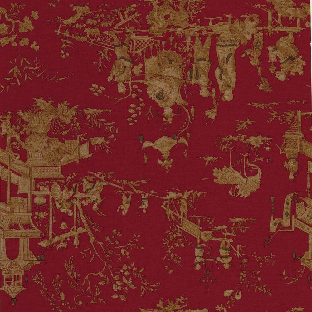 The Wallpaper Company 56 sq. ft. Red Figurative Toile Wallpaper