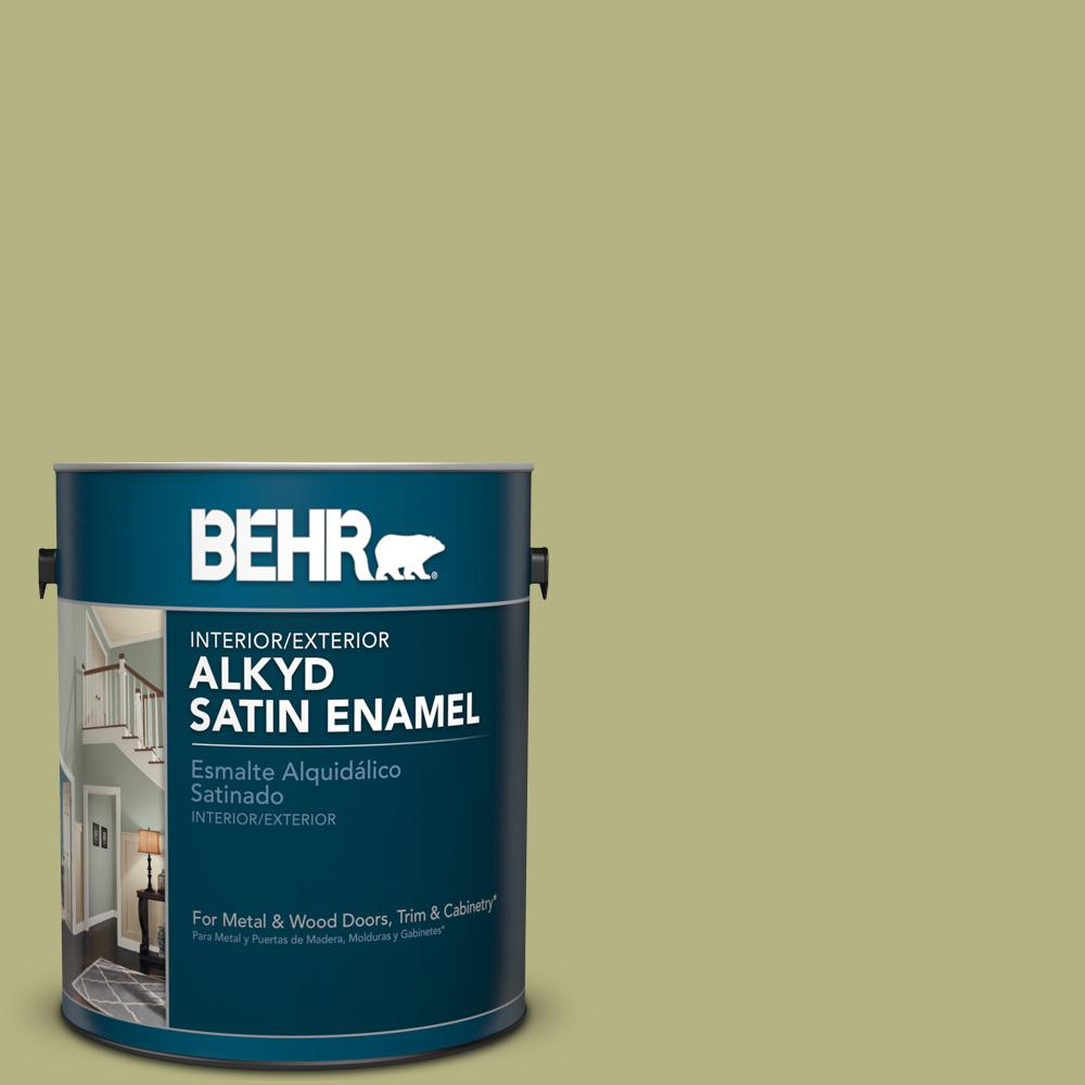 1 gal. #AE-33 Grassy Path Satin Enamel Alkyd Interior/Exterior Paint