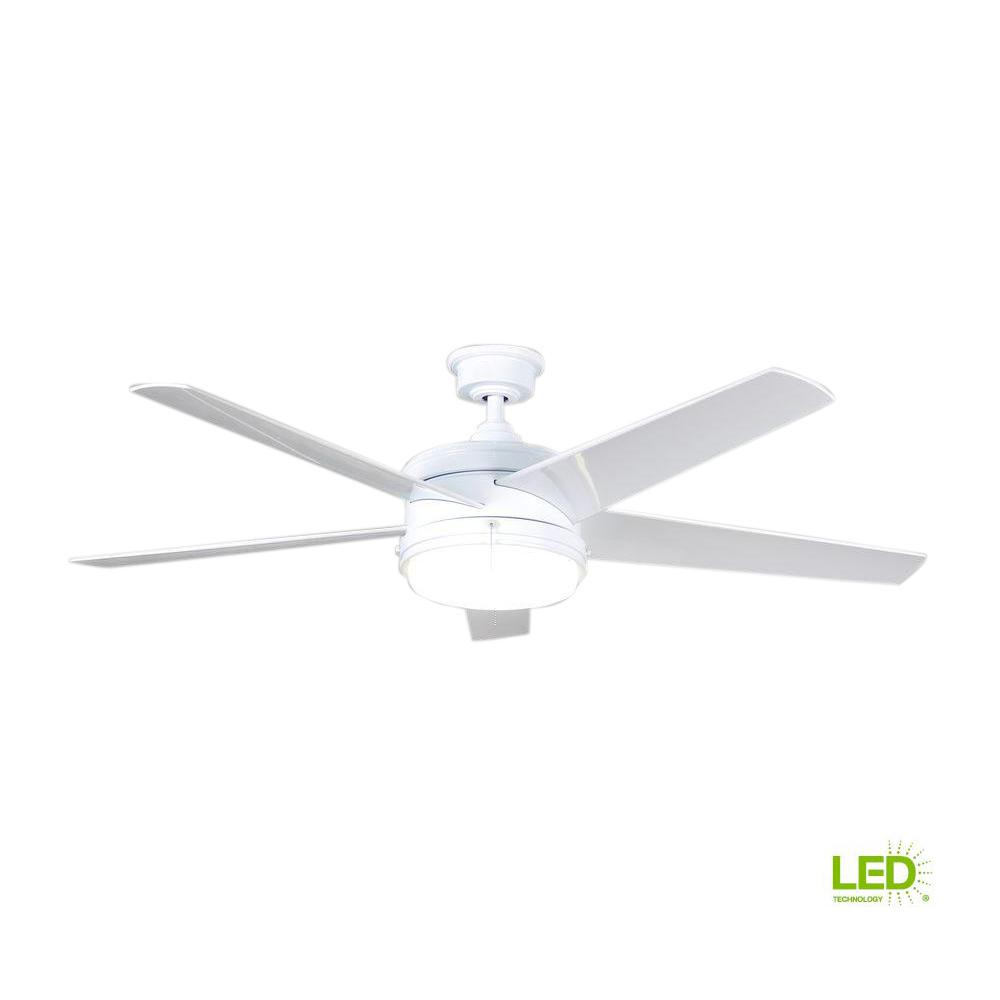 White Outdoor Ceiling Fan With Light: Home Decorators Collection Portwood 60 In. Integrated LED
