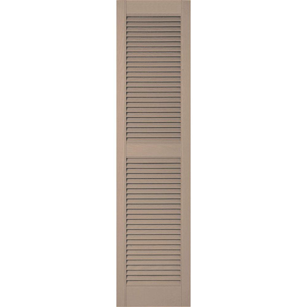 Ekena Millwork 12 in. x 36 in. Lifetime Vinyl Custom Straight Top Center Mullion Open Louvered Shutters Pair Wicker