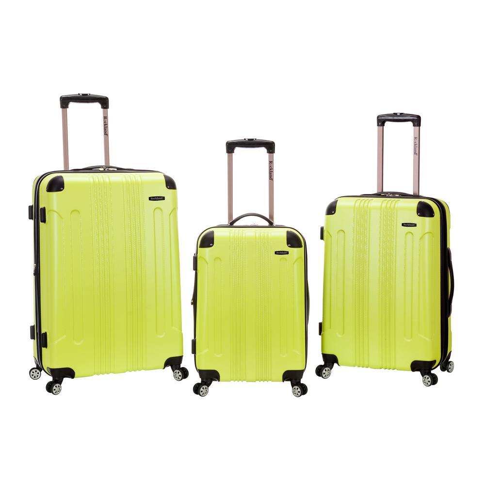 Rockland Sonic 3-Piece Hardside Spinner Luggage Set, Lime