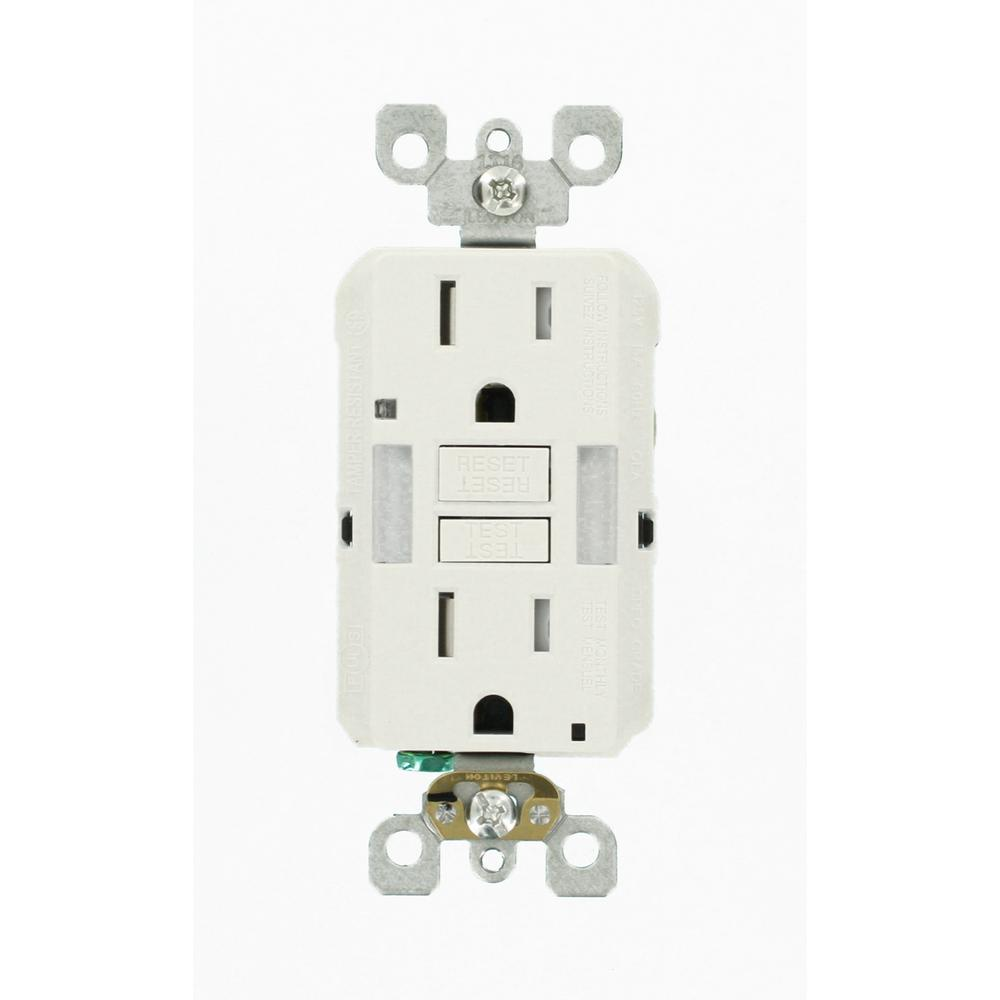Wall electrical outlets receptacles wiring devices light 15 amp 125 volt combo self test duplex guide light and tamper resistant aloadofball Images
