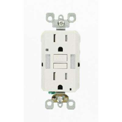 15 Amp 125-Volt Combo Self-Test Duplex Guide Light and Tamper Resistant GFCI Outlet, White