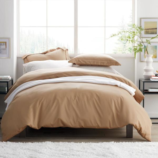 The Company Store Cafe Solid Wrinkle-Free Sateen King Duvet Cover