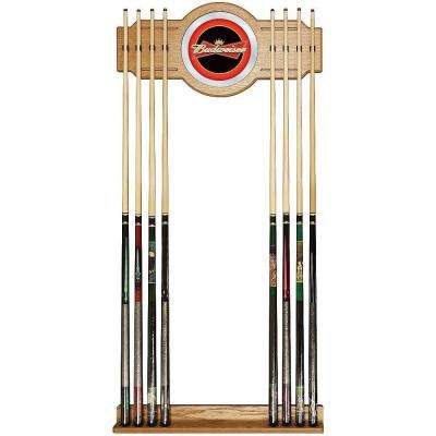 Budweiser Red/Black 30 in. Wooden Billiard Cue Rack with Mirror