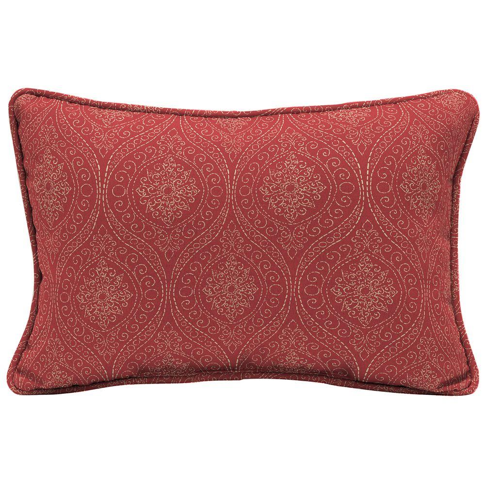 Chili Stitch Ogee Lumbar Outdoor Throw Pillow