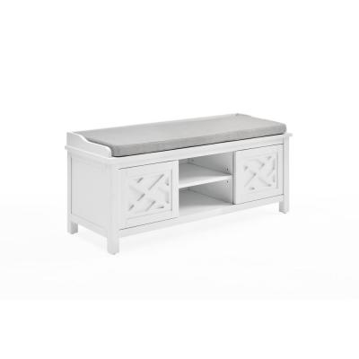 45 in. W Coventry White Wood Bench with Storage and Cushion
