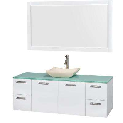 Amare 60 in. Vanity in Glossy White with Glass Vanity Top in Green, Marble Sink and 58 in. Mirror