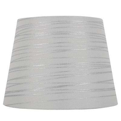 Mix and Match 12 in. Dia x 9 in. H White with Silver Foil Stripes Round Midsize Lamp Shade